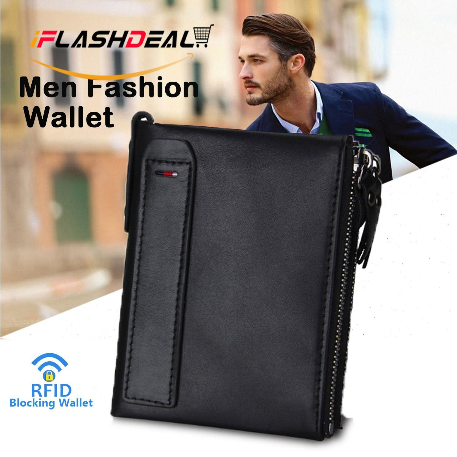 iFlashDeal Men Small Wallets Fashion RFID Blocking Mini Wallet Hot Crazy Horse Leather Double Zipper Bifold