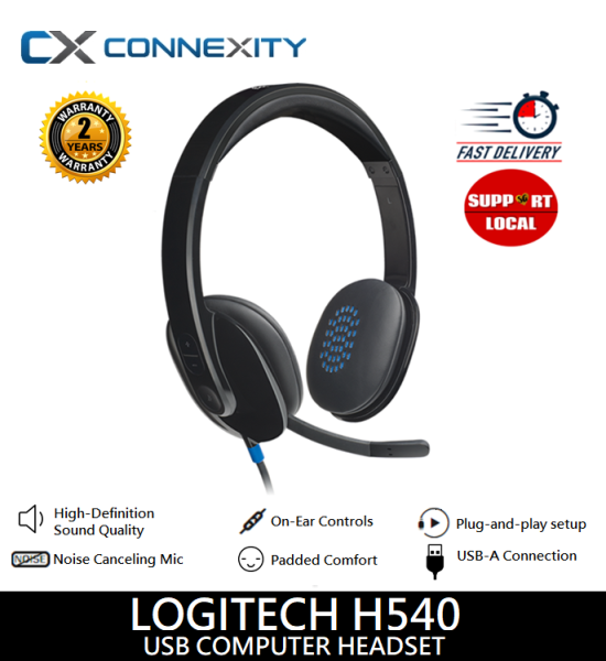 [LOCAL WARRANTY] Logitech H540 USB Headset with Noise-Cancelling Mic l Logitech Headset H540 l Logitech H540 l H540 l Logitech Headset with Microphone l Logitech Headset Noise Cancellation l Logitech Wired Headset l Wired headphones Singapore