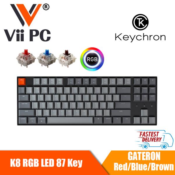 Keychron K8 RGB LED 87 Key Wireless Mechanical Keyboard Mac / Windows Compatible - Gateron Blue/Brown/Red