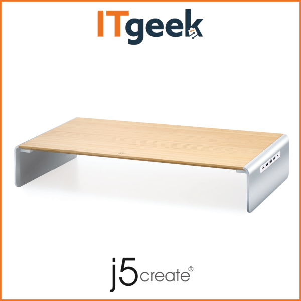 j5create JCT425 Wood Monitor Stand with Docking Station USB-C, 4K HDMI & 5-Port USB Hub with Power Delivery