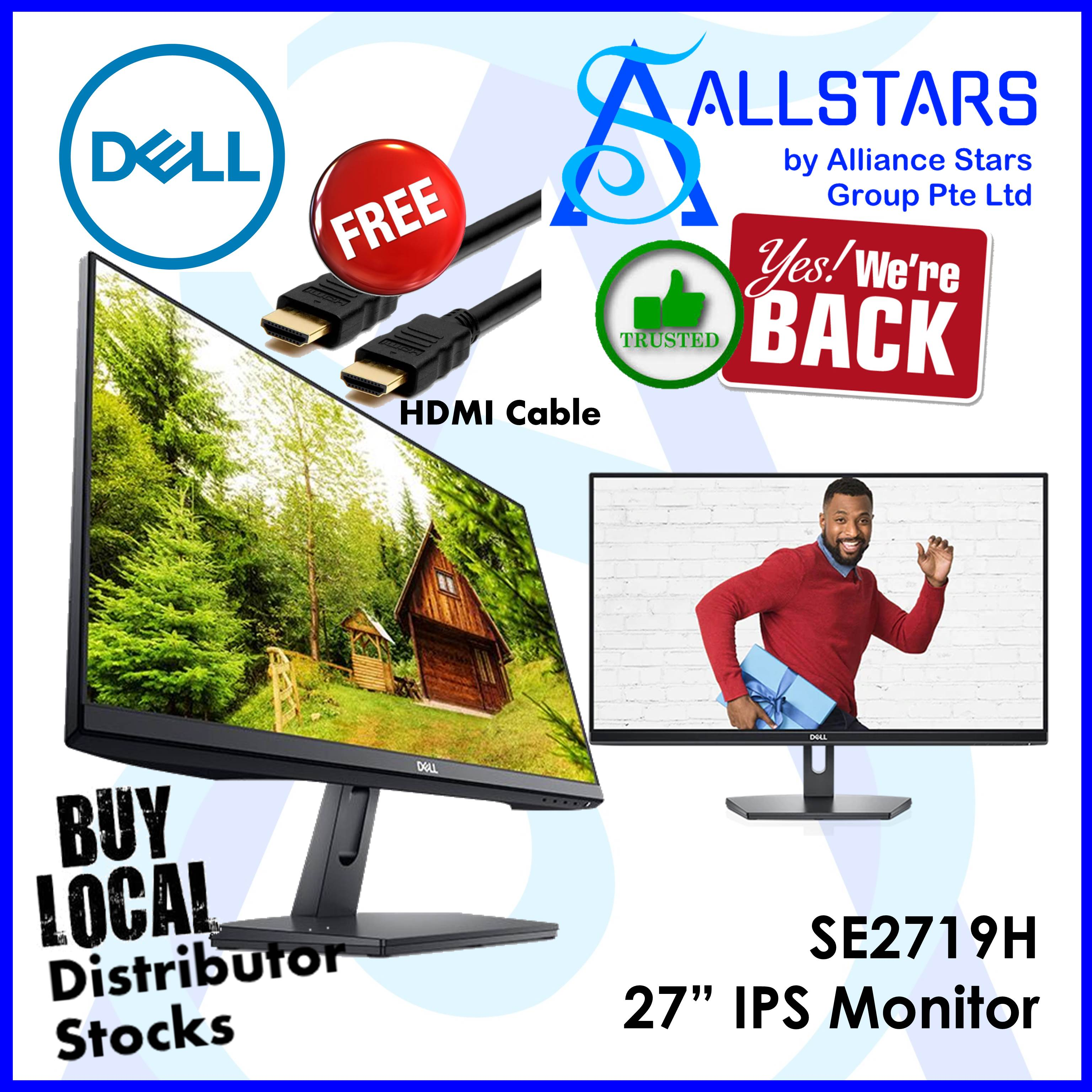 (ALLSTARS : We are Back / CNY2020 PROMO) **FREE HDMI Cable** Dell 27 inch  SE2719H Full HD IPS 3-sides thin bezel Monitor (Local Warranty 3years on-site by Dell Singapore) *FREE HDMI Cable*
