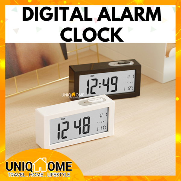 UniqHome Smart Digital Alarm Clock Clocks Piano Finish Battery Powered wall Clock