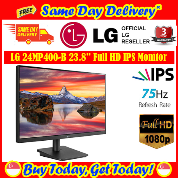 [Free Same Day Delivery*] LG 24MP400-B 23.8Inch 16:9 FreeSync Full HD IPS Monitor (*Order Before 2pm on working day, will deliver the same day, Order after 2pm, will deliver next working day.)