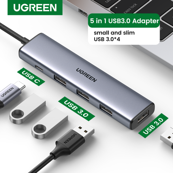 UGREEN USB 3.0 USB C HUB with 4 USB 3.0 Ports 5Gbps Transfer Speed with Type C Power Supply Port for U disk, Mobile Hard Disk, Keyboard, Mouse, USB Fan, Printer