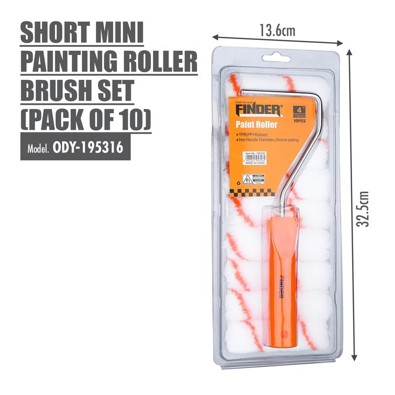 FINDER - Short Mini Painting Roller Brush Set (Pack of 10)