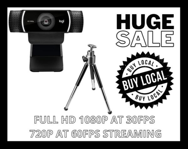 [STOCK IN SG] Logitech C922 PRO auto focus built-in microphone full HD webcam +TRIPOD STAND