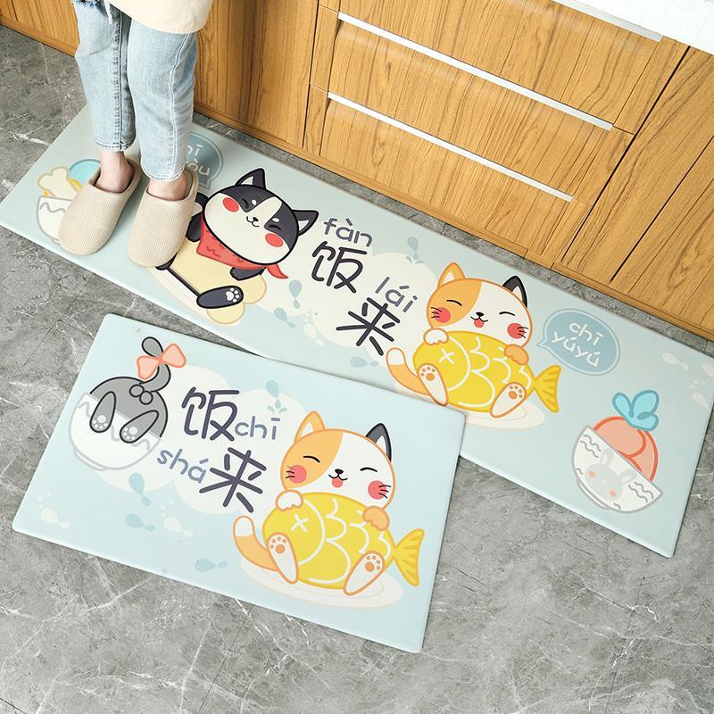 Kitchen Floor Mat Anti-slip Oil Resistant Household Kitchen Rug Wipable Disposable Dirt Waterproof Kitchen Coaster Kitchen Mat
