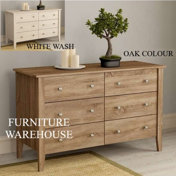 NEW DESIGN CHEST OF DRAWERS / 6 DRAWERS / OAK OR WHITE WASH COLOUR [FREE DELIVERY & INSTALLATION]
