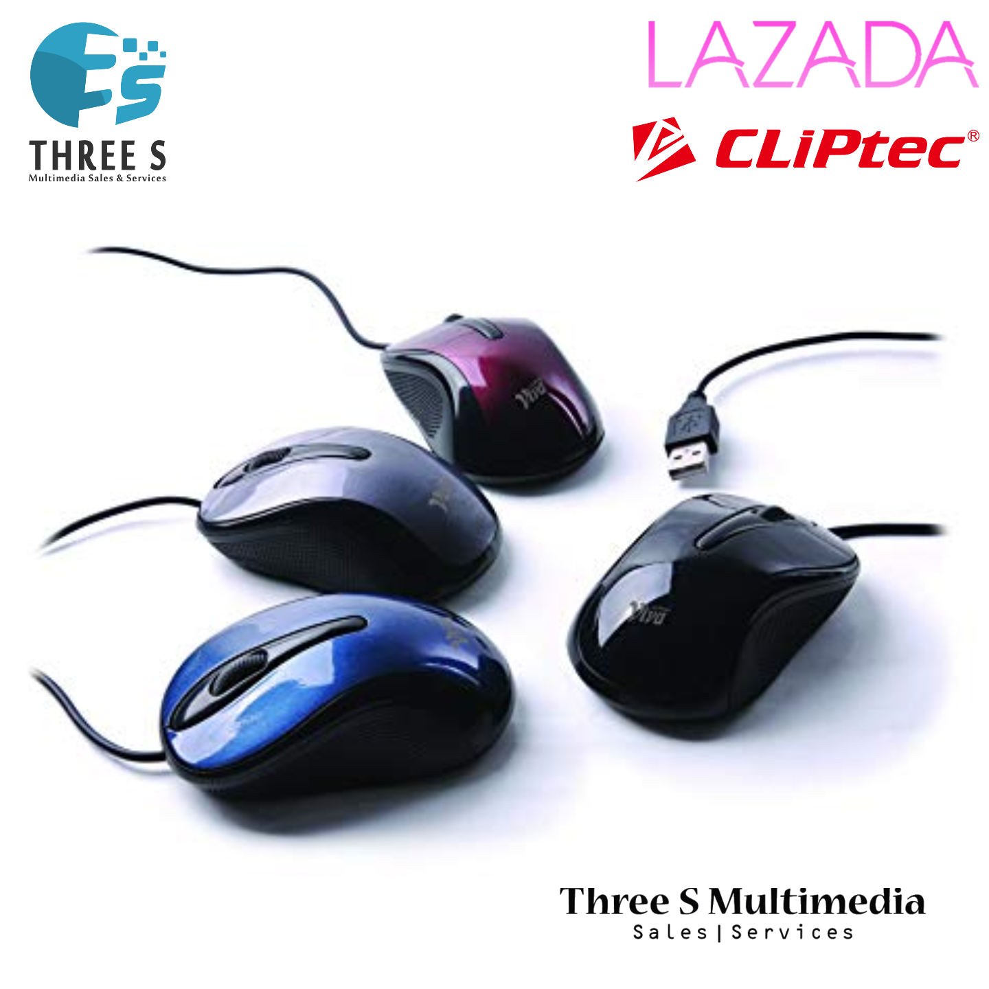 Cliptec Viva Red Optical Mouse / Wired Mouse RZS961
