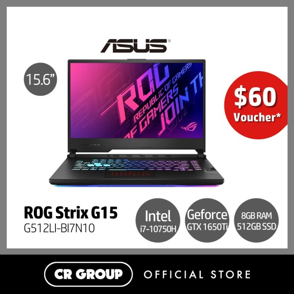 [Same Day Delivery] Asus ROG STRIX G15 G512LI 15.6 FHD 144Hz Refresh Rate Gaming Laptop | Core i7-10750H 2.6GHz | 8GB RAM | 512GB SSD | Nvidia GeForce GTX 1650 Ti