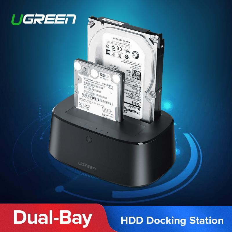 【Free SG Plug Power Adapter】UGREEN Hard Drive Docking Station USB 3.0 to SATA Adapter External UASP Enclosure Hard Disk Caddy Reader 2-Bay Cloning Kit For 2.5/3.5 SATA HDD SSD,Windows,Mac OS,Linux,PS4,Xbox One-Intl