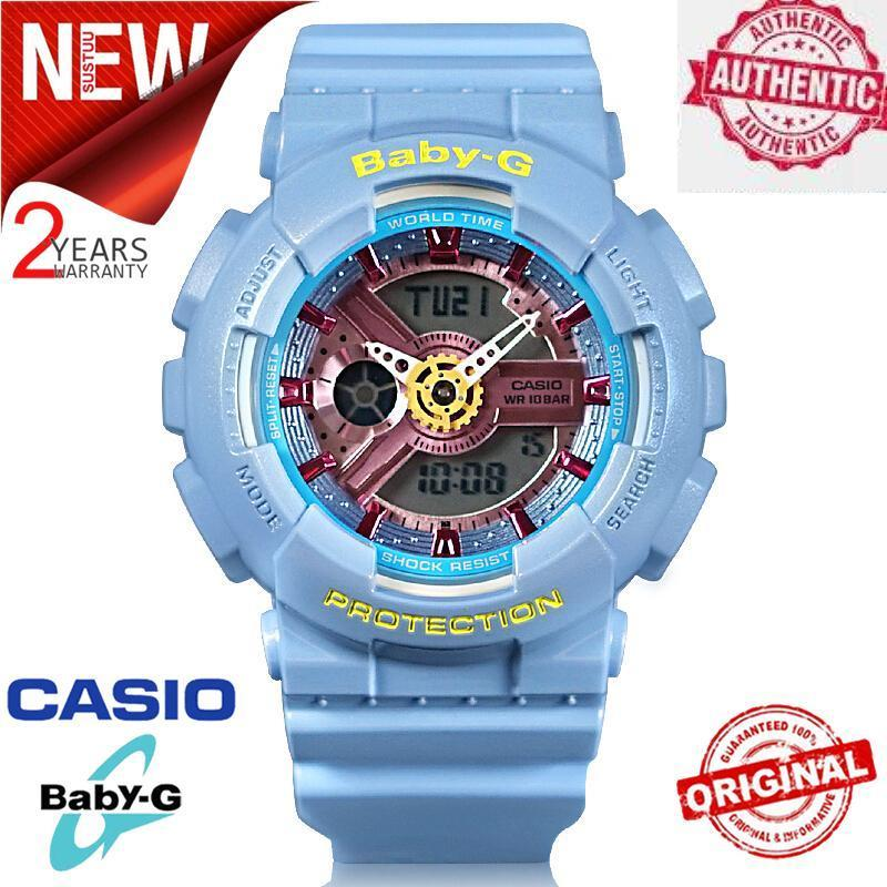 (Ready Stock) Original BABY G BA-110CA-2A Men Sport Watch Duo W/Time 200M Water Resistant Shockproof and Waterproof World Time LED Auto Light Wrist Sport Digital Watches with 2 Year Warranty BA110/BA-110 Malaysia