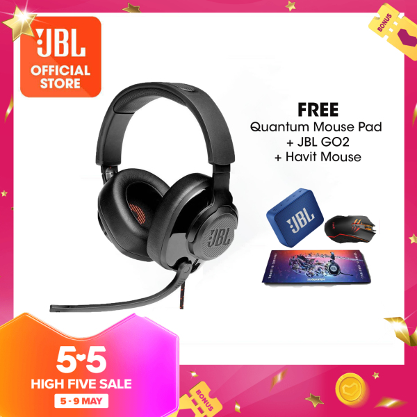 JBL Quantum 200 Gaming Headset with Mic Bundle with Quantum Mouse Pad + JBL Go 2 Blue + Havit Mouse Singapore