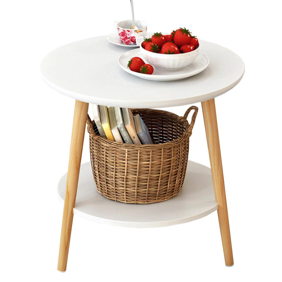 JIJI ( Cartel Carafa Dual Round Side Table ) Furniture / Living Room / Side Table / WHITE / (50cm) / FREE Installation / FREE Delivery / 12 Months Warranty / (SG)
