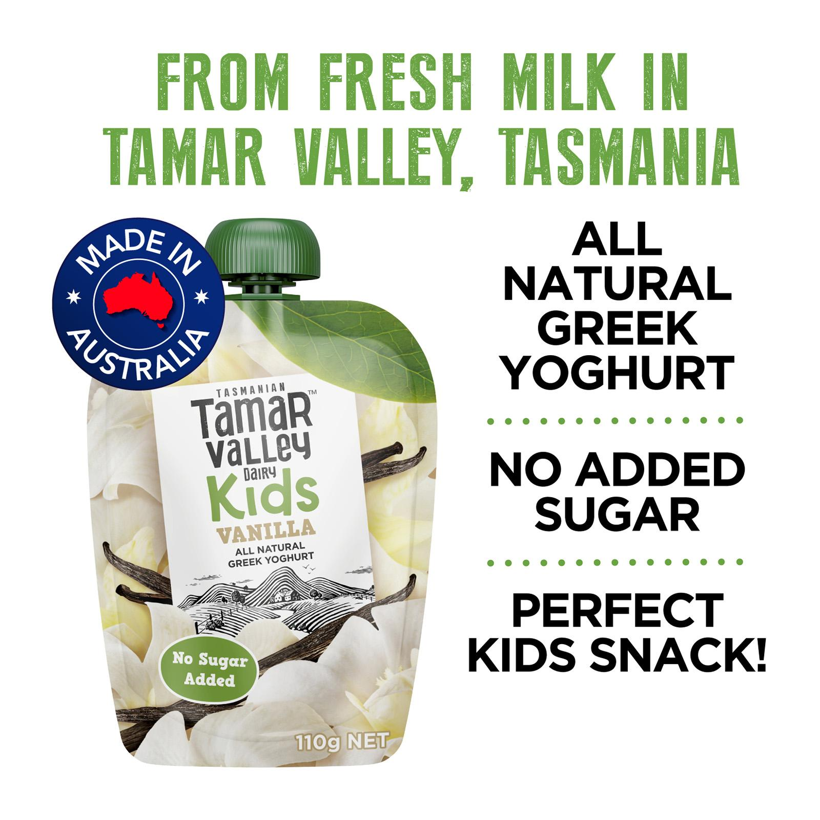 TAMAR VALLEY Kids Natural Greek Yoghurt Pouch Vanilla 110g