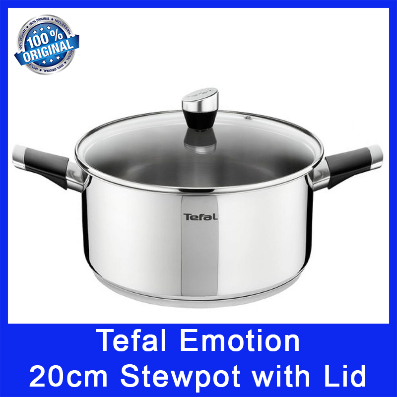 Tefal Emotion E8234424 20cm Stewpot with Lid. 20cm Diamater. Stainless Steel. Titanium Non-Stick Coating. Local SG Stock. Singapore