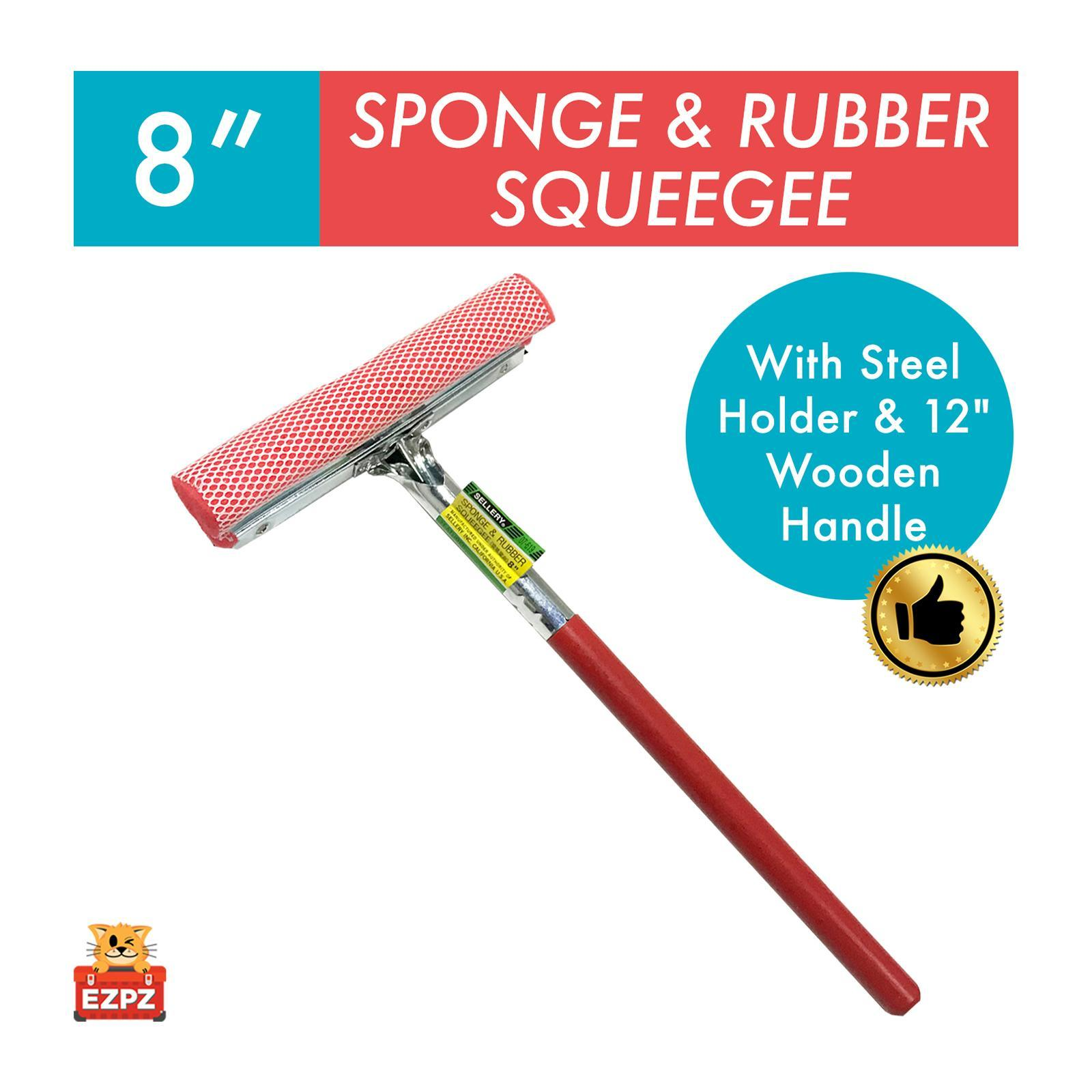 Sellery Sponge And Rubber Squeegee 8 /200Mm (With Steel Holder And 12 Wooden Handle)
