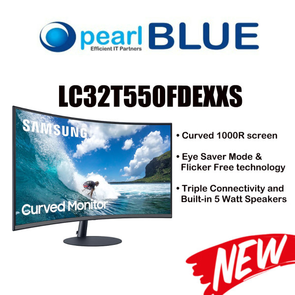 SAMSUNG 32 Curved Monitor with optimal curvature 1000R | LC32T550FDEXXS