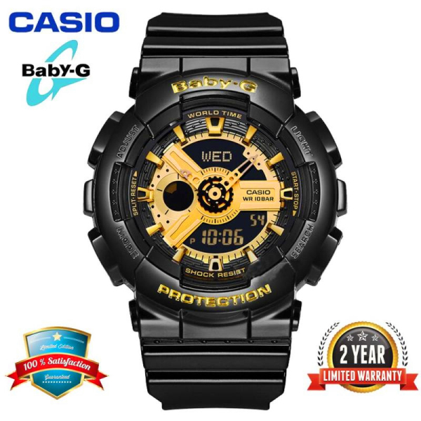 Original Casio Baby G BA110 Women Sport Watch Dual Time Display 100M Water Resistant Shockproof and Waterproof World Time LED Light Girl Sports Wrist Watches with 2 Year Warranty BA-110-1A Black Gold (Ready Stock) Malaysia