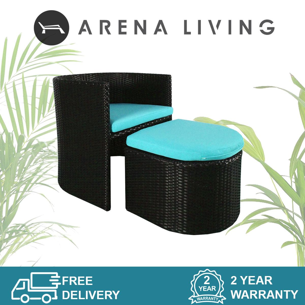Caribbean 1 Chair + 1 Ottoman Set Outdoor Furniture by Arena Living