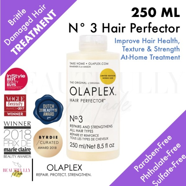 Buy OLAPLEX No.3 Hair Perfector 250ml - Award Winning International Brand! Stylist Recommended! Rinse Out Deep Intensive Rich Repair Damaged Brittle Hair Cream Mask Smooth Frizz Dry Split Ends Treatment Creme - 100% Genuine Authentic Singapore