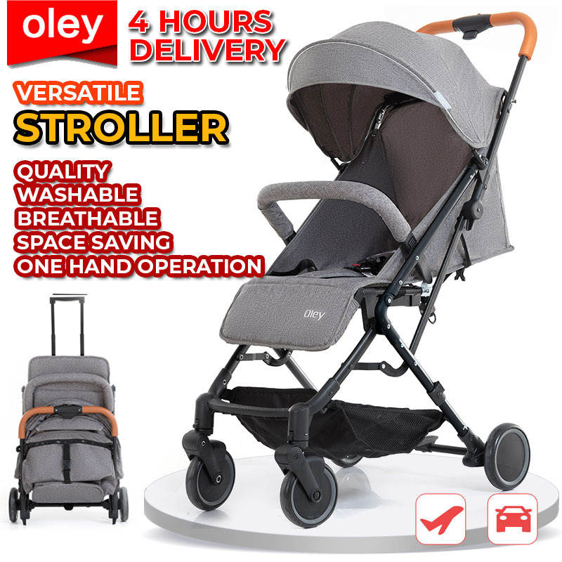 [SG - 4HR FREE & FAST DELIVERY] Baby Stroller Pram 1 Hand Operation Car Boot and Plane Friendly with 3 FREE Items. Washable and Lightweight! [2-4 HOURS FAST DELIVERY] Singapore