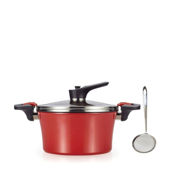Happycall 24cm Red Addiction Induction Heat Vacuum High Stock Pot (Made in Korea) w+ FREE Endo oil separator Singapore