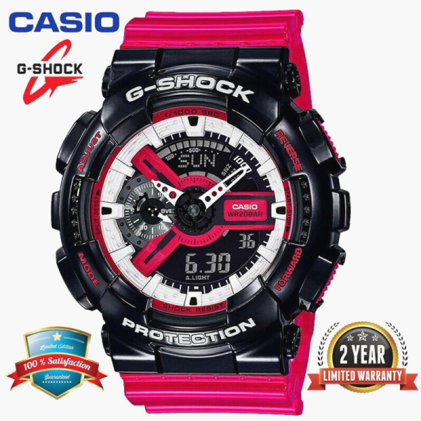 (Ready Stock)Original  G Shock GA110 Men Sport Watch 200M Water Resistant Shockproof and Waterproof World Time LED Auto Light Sports Wrist Watches with 2 Year Warranty GA-110RB-1A Limited Series Big Case Black Red free shipping Malaysia