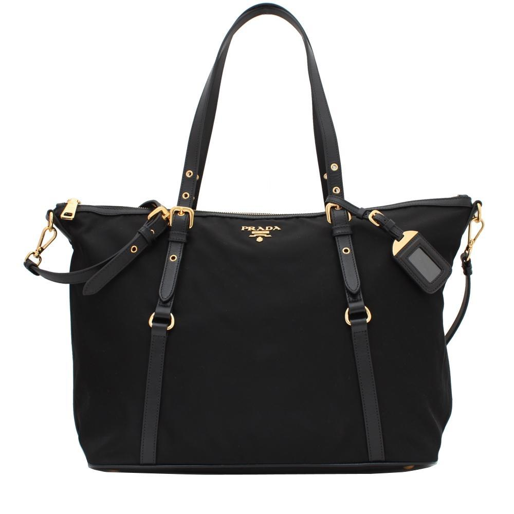 6ac89c60a3a3 Prada BR4253 Tessuto Nylon   Soft Calf Leather Trim Top Zip Tote Bag- Black