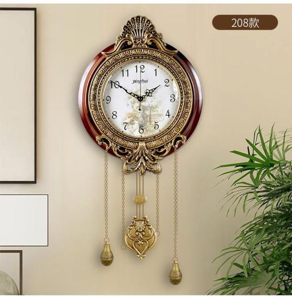 European Style Living Room Wall Clocks Retro Quartz Swing Clock Bedroom Mute Clocks 23x59cm - intl