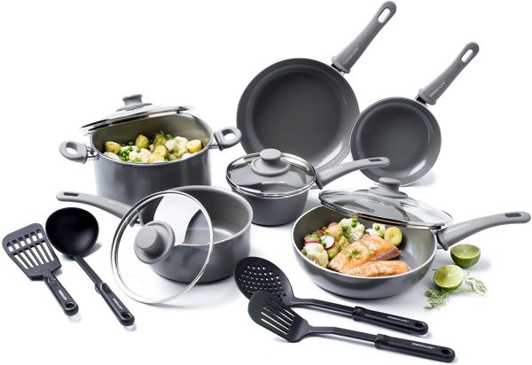 GreenLife Soft Grip Diamond Healthy Ceramic Nonstick, Cookware Pots and Pans Set, 14 Piece, Gray Singapore