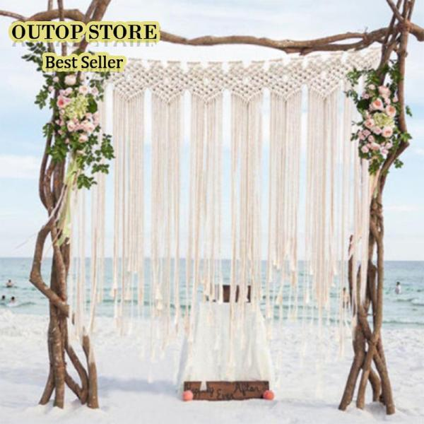 OUTOP Macrame Wedding Ceremony Backdrop Curtain Wall Hanging Cotton Handmade Wall Art Home Decor 45.2*53in