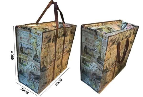 2 PIECES JUMBO ZIP Reusable Large Strong Shopping/Storage/Foldable/House Moving bags