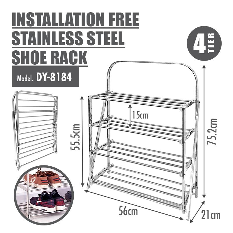 HOUZE - 4/5 Tier Installation Free Stainless Steel Shoe Rack