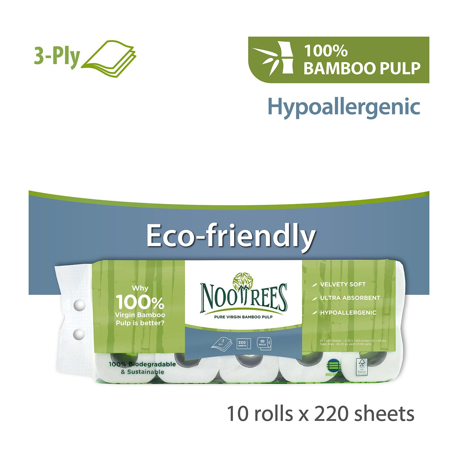 NooTrees Bamboo Ecoluxe 3-Ply Bathroom Tissue - 10 Rolls