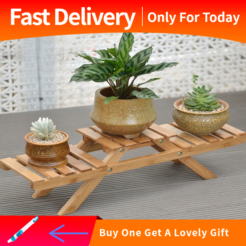 【FREE GIFT】brsneffie Wooden Standing Foldable 2-layered Potted Plant Flower Shelf Storage Rack Garden