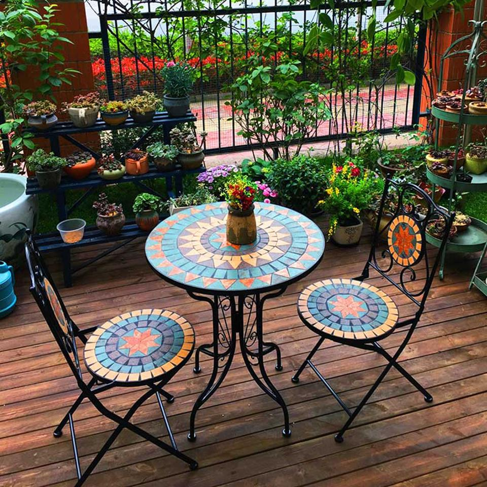 European-Styled Iron Mosaic Balcony Outdoor Table Chair Set