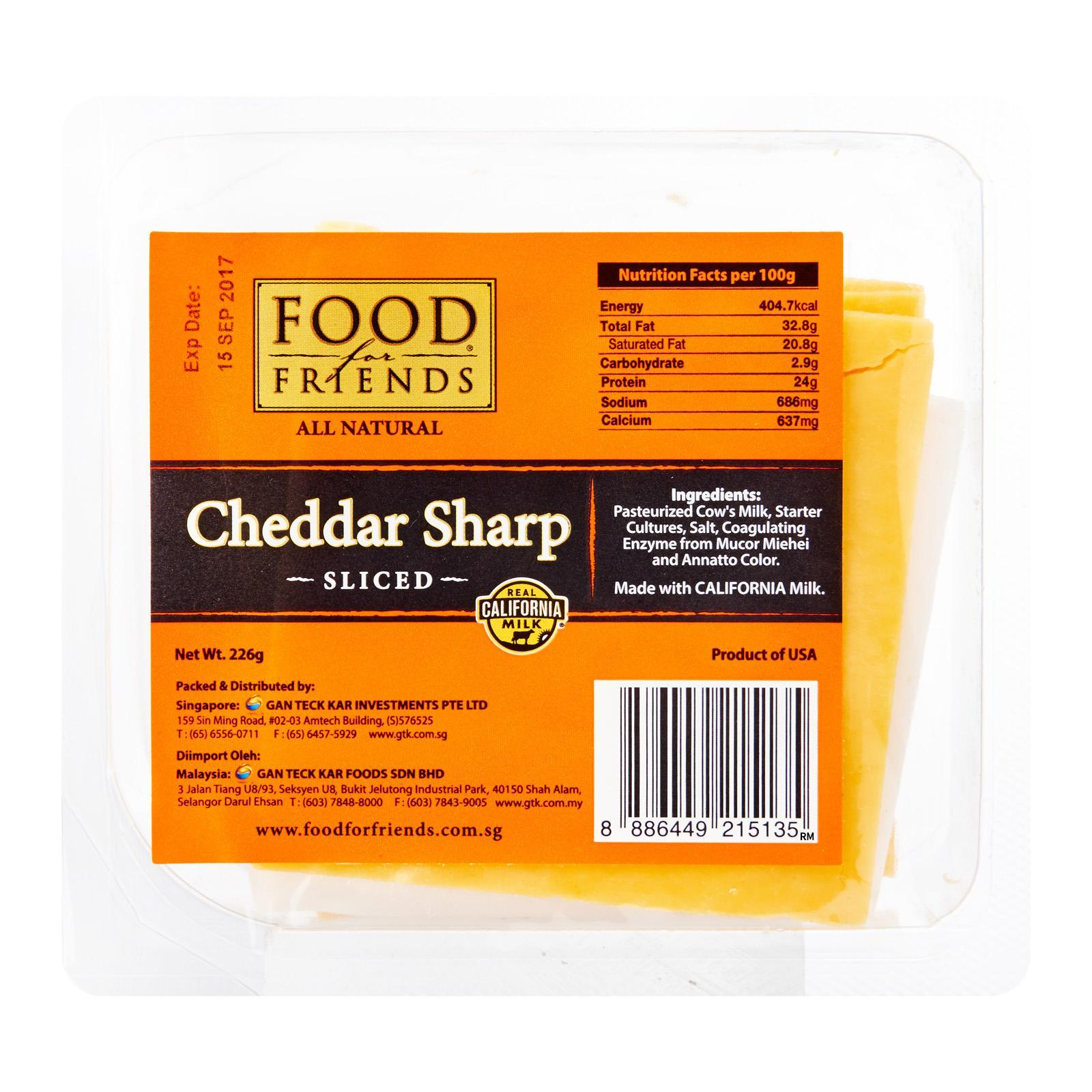 Food for Friends Cheddar Sharp Shingle Sliced Cheese 8Oz