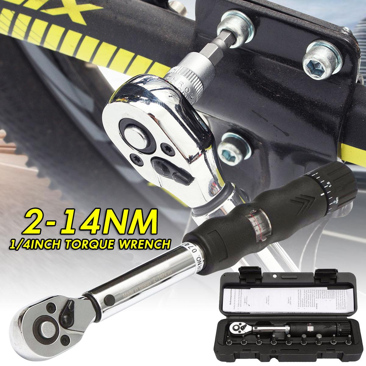 2~14nm 1/4 Bits-Alloy Steel Bicycle Drive Torque Wrench Key Tool Socket Set By Audew.