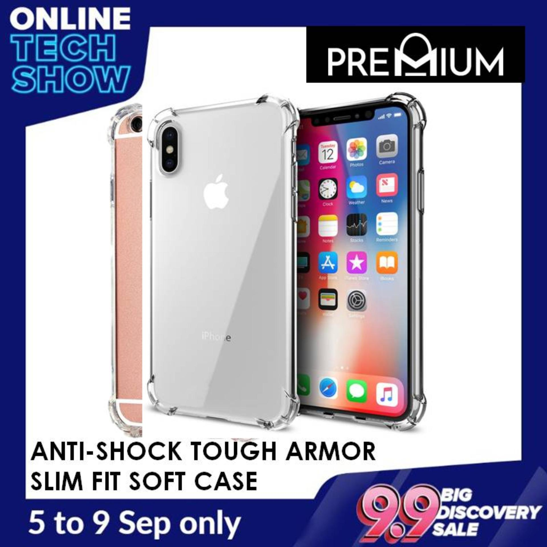 Anti Shock Tough Armor Slim Flexible Transparent Case Casing Cover Phone  Cases For iPhone Xs Max XR X 7 8 6 6S 5 5S Plus - Clear
