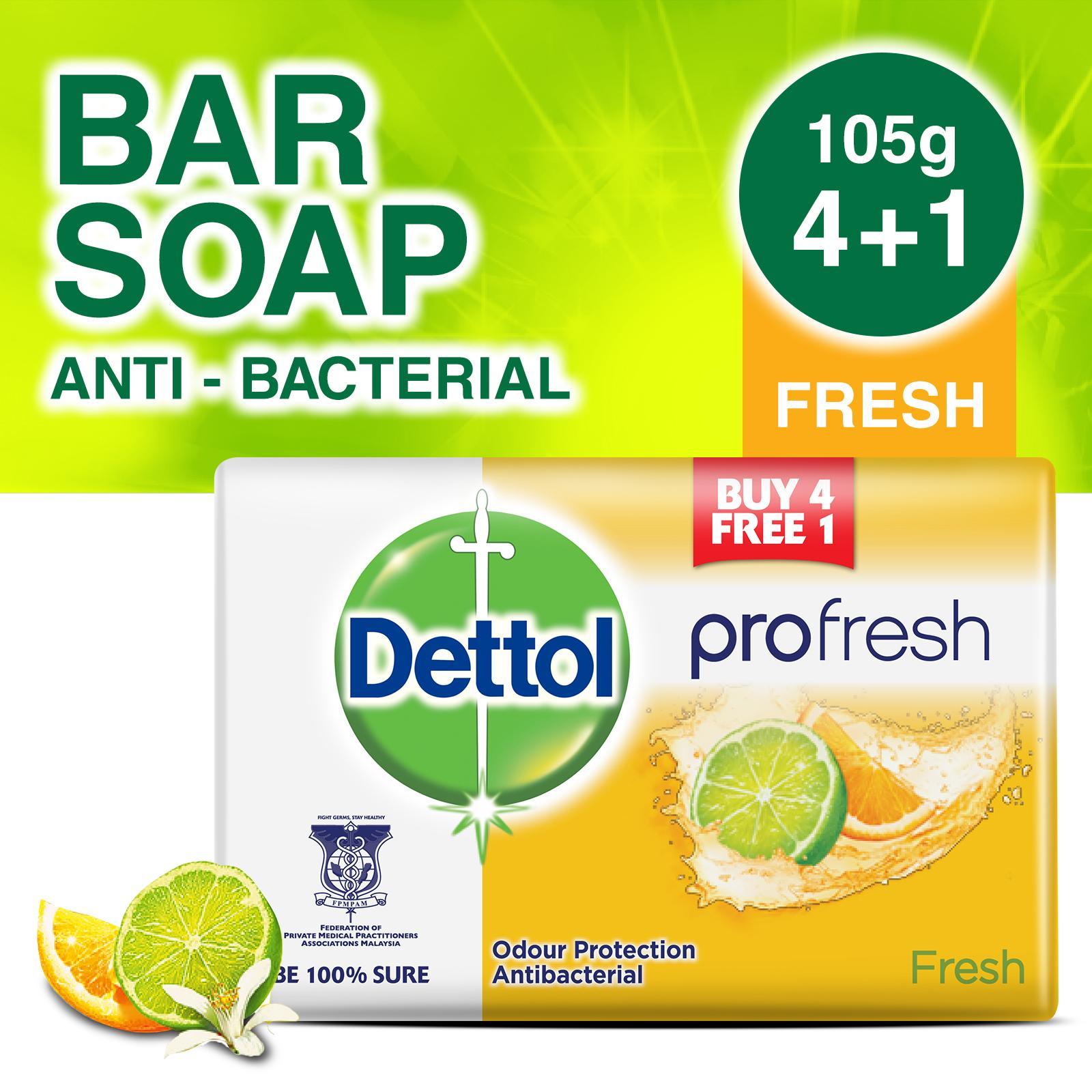 4+1 free Dettol Anti-Bacterial Bar Soap Fresh 105G
