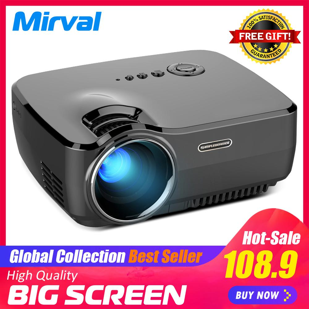 Mirval GP70 LED Mini LCD 4K HD Home Projector Support HDMI VGA USB TF Card  Input Personal Cinema Projectors
