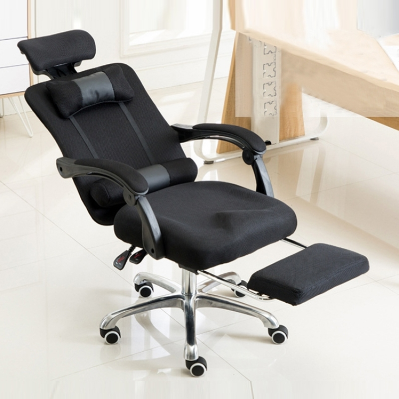 Computer Gaming Chair Office Chair Home Esports  Net Cloth Lifted Rotated Footrest Reclining Chair with Aluminum Alloy Feet