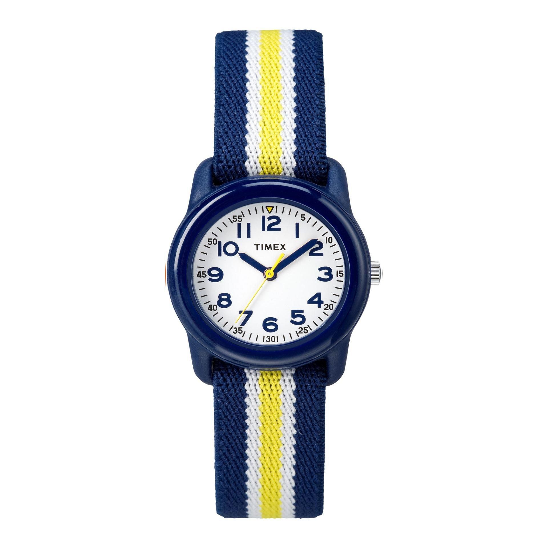 acc1900d6 Timex - Kids Analog 29mm Elastic Fabric Strap Watch - Blue/Yellow stripe  (TW7C05800