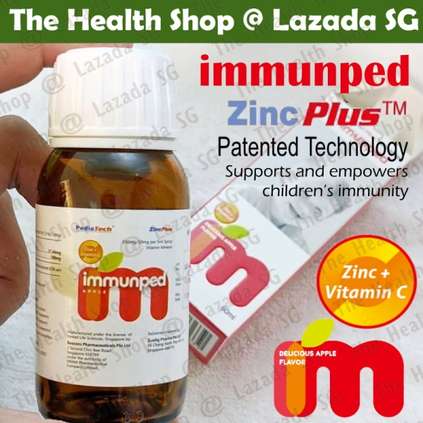 Buy Immunped (60ml) - Patented Zinc + Vitamin C / Strengthen Immunity / Sambucol / LactoGG / Biogaia - Suitable for kids and adults Singapore