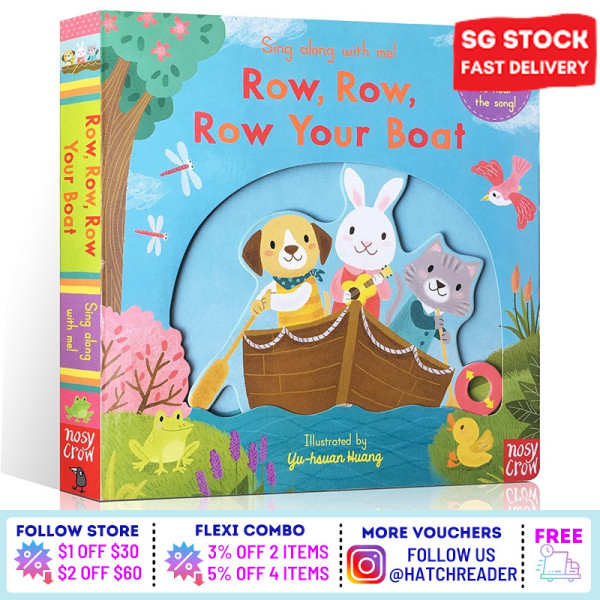 [SG Stock] Sing Along with Me! Row, Row, Row Your Boat INTERACTIVE english story book Song for children child kids baby 0 1 2 3 years old sensory play flash card picture
