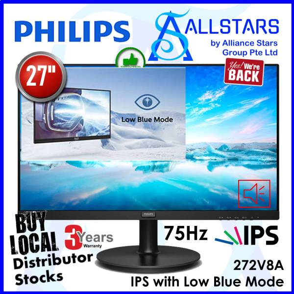 (ALLSTARS: We are Back / NEW Year 2021 Promo) Philips 27 inch 272V8A / 272V8A/69 Full HD IPS Monitor / DP + HDMI + VGA / Built-In-Speaker / 75Hz / Low Blue Mode / VESA Mount Compatible (Warranty 3years on-site with Philips SG)