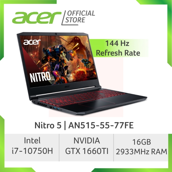 [LATEST] Acer Nitro 5 AN515-55-77FE 144Hz Gaming laptop with Intel 10th Gen Core i7-10750H Processor and NVIDIA GeForce GTX 1660TI