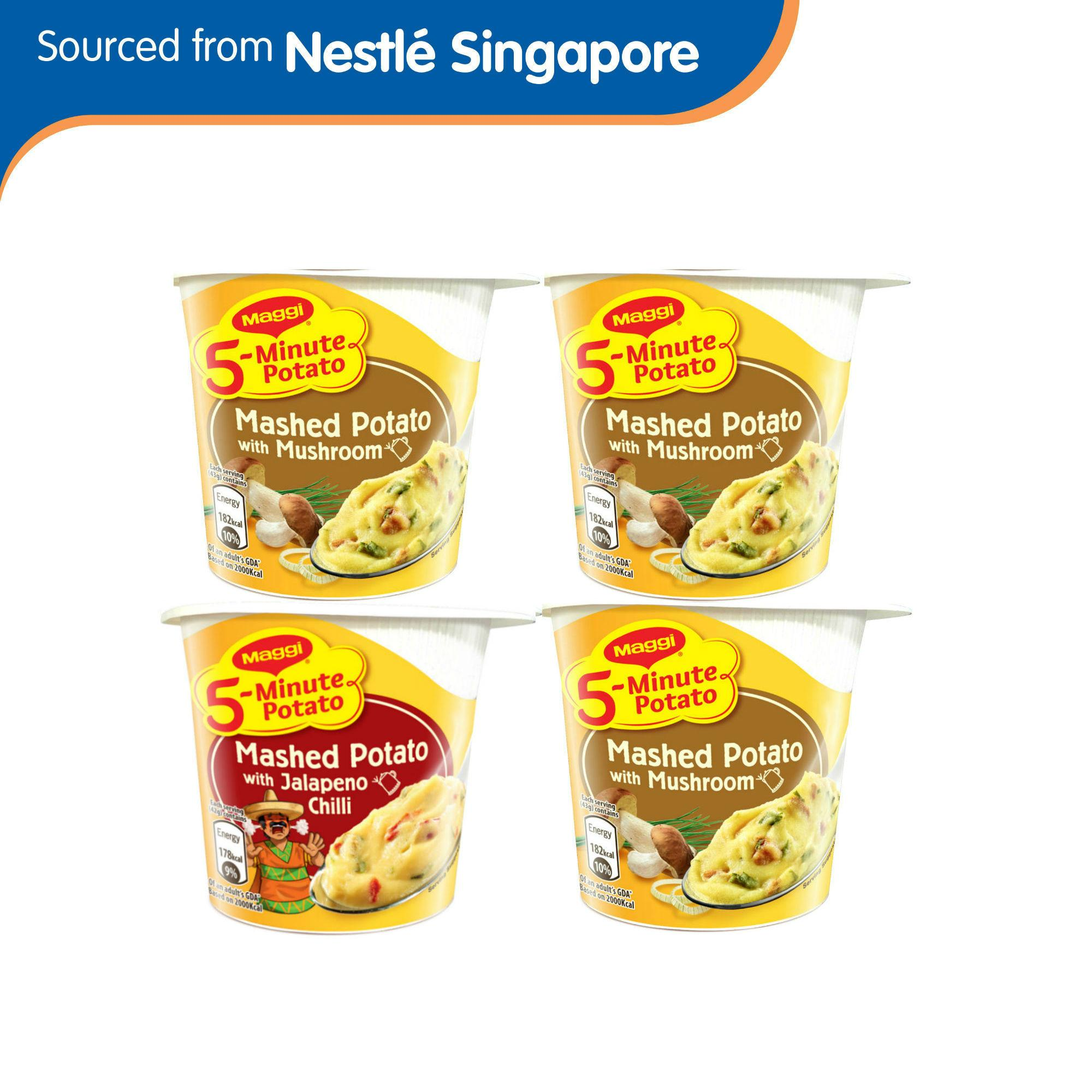 Maggi 5-Min Mashed Potato With Mushroom 43gx3 + Free Maggi 5-Min Mashed Potato With Jalapeno Chilli 42g (worth $2.20) By Nestle Official Store.