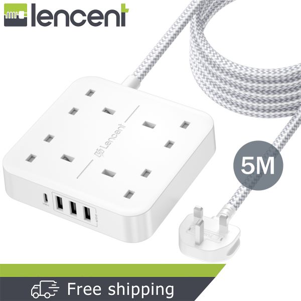 LENCENT 5M Extension Lead with USB C Port (3250W 13A), 4 Way Outlets Power Strip with 1 USB-C and 3 USB Slots, Multi Power Plug Extension with 5M Braided Extension Cord for Home Office- White
